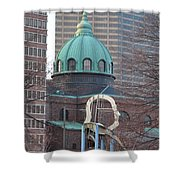 Ben Franklin Sculpture And St Peters Basilica Philadelphia Shower Curtain