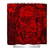 Ben In Wood Red Shower Curtain