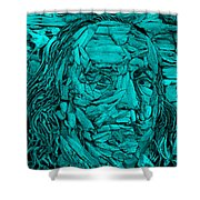 Ben In Wood Turquoise Shower Curtain