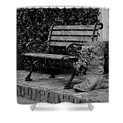 Bench And Boot 1 Shower Curtain by Michael Colgate