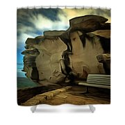 Bench And Huge Overhanging Rock Shower Curtain
