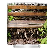Bench And Wood Pile Shower Curtain