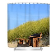 Bench At The Beach Shower Curtain
