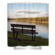 Bench By The Lake Shower Curtain