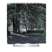 Bench By The Stream II Shower Curtain