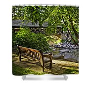 Bench By The Stream IIi Shower Curtain