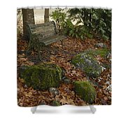 Bench In Fall Shower Curtain