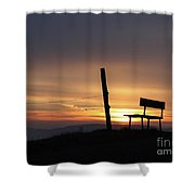 Bench In The Morning Shower Curtain