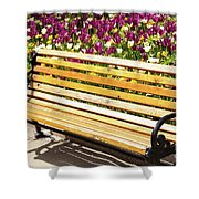 Bench In The Tulips Shower Curtain
