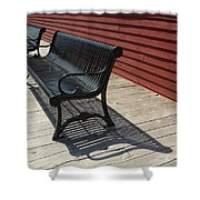 Bench Lines And Shadows 0841 Shower Curtain