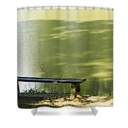 Bench On A Lake Shower Curtain