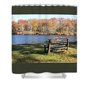 Bench On Lake Shower Curtain
