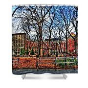 Bench View In Washington Square Park Shower Curtain