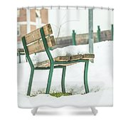 Bench With Snow Shower Curtain