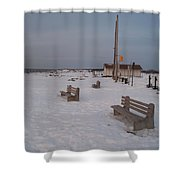 Benches At Sunset Beach Nj Shower Curtain