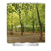 Benches In Wurzburg Shower Curtain