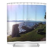 Benches Water Sun And Boat Shower Curtain