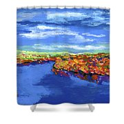 Bend In The River Shower Curtain by Stephen Anderson