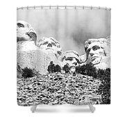 Beneath Mount Rushmore National Monument South Dakota Black And White Shower Curtain