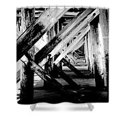 Beneath The Docks Night Shower Curtain