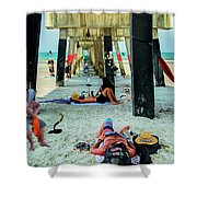 Beneath The Jacksonville Beach Pier  Shower Curtain