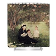Beneath The Lilac At Maurecourt Shower Curtain by Berthe Morisot