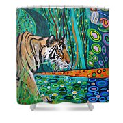 Bengal Tiger And Dragonfly Shower Curtain