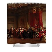 Benjamin Franklin Appearing Before The Privy Council  Shower Curtain by Christian Schussele
