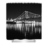 Benjamin Franklin Bridge - Black And White At Night Shower Curtain