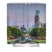 Benjamin Franklin Parkway City Hall Shower Curtain