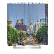 Benjamin Franklin Parkway City Hall Vertical Shower Curtain