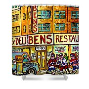 Ben's Famous Smoked Meat Montreal Memories Canadian Paintings Hockey Scenes And Landmarks  C Spandau Shower Curtain