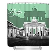 Berlin Brandenburg Gate - Graphic Art - Green Shower Curtain