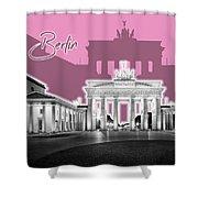 Berlin Brandenburg Gate - Graphic Art - Pink Shower Curtain