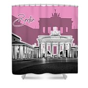 Berlin Brandenburg Gate - Graphic Art - Pink Shower Curtain