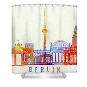 Berlin Landmarks Watercolor Poster Shower Curtain