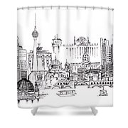 Berlin Medley Monochrome Shower Curtain