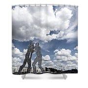 Berlin Molecule Men Spree Shower Curtain