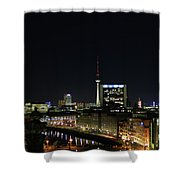 Berlin Night Landscape Shower Curtain