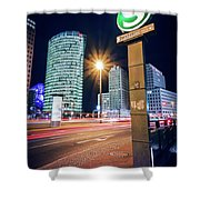 Berlin - Potsdamer Platz Square At Night Shower Curtain