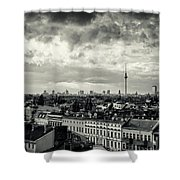 Berlin Skyline And Roofscape -black And White Shower Curtain