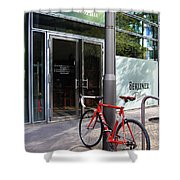 Berlin Street View With Red Bike Shower Curtain
