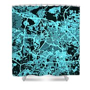 Berlin Traffic Abstract Blue Map Shower Curtain