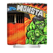Berlin Wall Monsta Door Shower Curtain