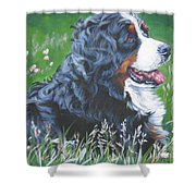 Bernese Mountain Dog In Wildflowers Shower Curtain