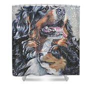 Bernese Mountain Dog With Pup Shower Curtain