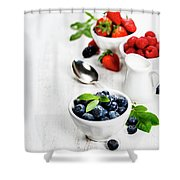 Berries In Bowls  On Wooden Background. Shower Curtain