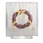 Berry Decorated Wreath Shower Curtain