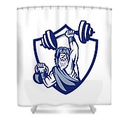 Berserker Lifting Barbell Kettlebell Crest Retro Shower Curtain