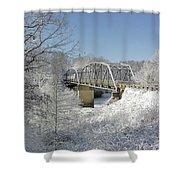 Bert White Bridge Shower Curtain